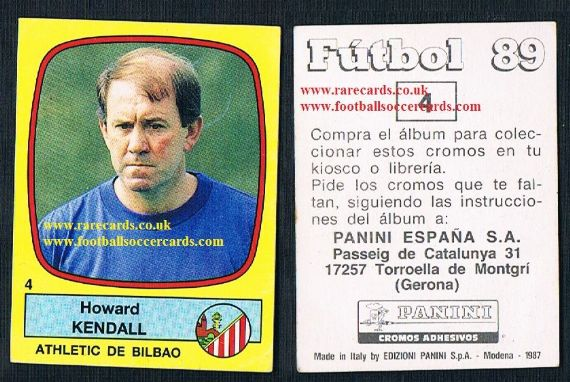 1989 SPANISH Howard Kendall Everton Birmingham Panini#4
